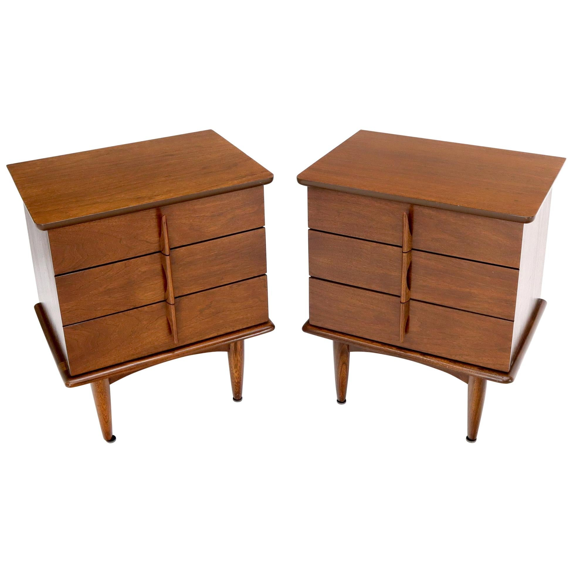Pair of Three-Drawer Walnut End Tables Nightstands Small Chests