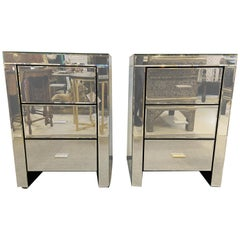 Pair of Three Drawers Beveled Mirror End Tables or Nightstands