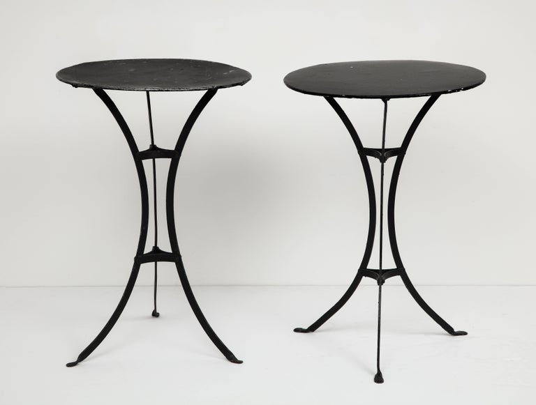 Pair Of Three Legged Round Black Metal Side Tables