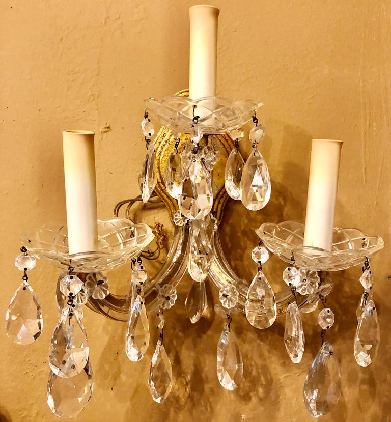 Louis XVI Pair of Three Light Crystal Candelabra Wall Sconces on Giltwood For Sale