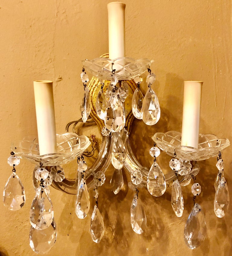 Pair of Three Light Crystal Candelabra Wall Sconces on Giltwood In Good Condition For Sale In Stamford, CT
