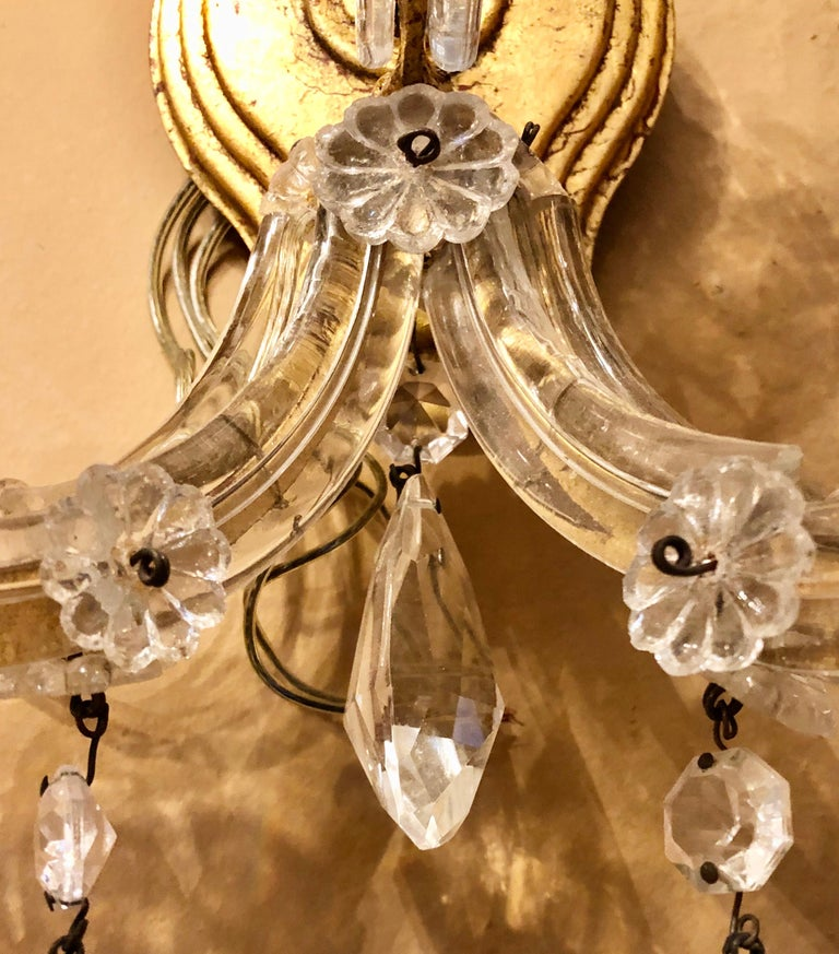 Pair of Three Light Crystal Candelabra Wall Sconces on Giltwood For Sale 1