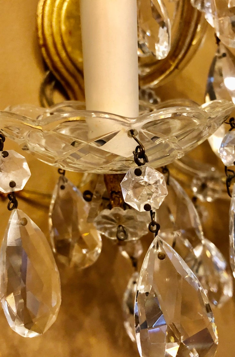 Pair of Three Light Crystal Candelabra Wall Sconces on Giltwood For Sale 2