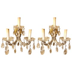 Pair of Three Light Crystal Candelabra Wall Sconces on Giltwood
