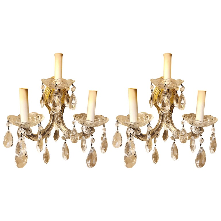 Pair of Three Light Crystal Candelabra Wall Sconces on Giltwood For Sale