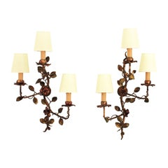 Pair of Foliage Floral Tole Wall Sconces in Polychromed Gilt Iron
