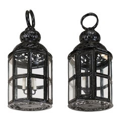 Pair of Three-Light Moroccan-Inspired European Lanterns in Black Color w/Glass