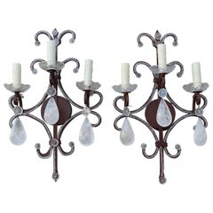 Pair of Three-Light Rock Crystal Iron Sconces