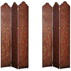 Pair of Three Panel Ox Blood Painted Screens