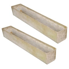 Pair of Three Swiss 20th Century Rectilinear Stone Planters by Willy Guhl