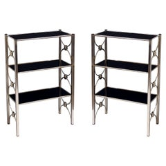 Pair of Three-Tiered Shelves or Étagères of Metal and Black Glass 'Priced Each'