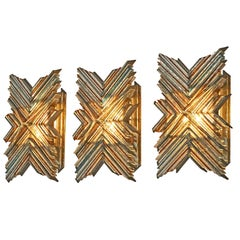 Pair of Three Wall Sconces by Poliarte