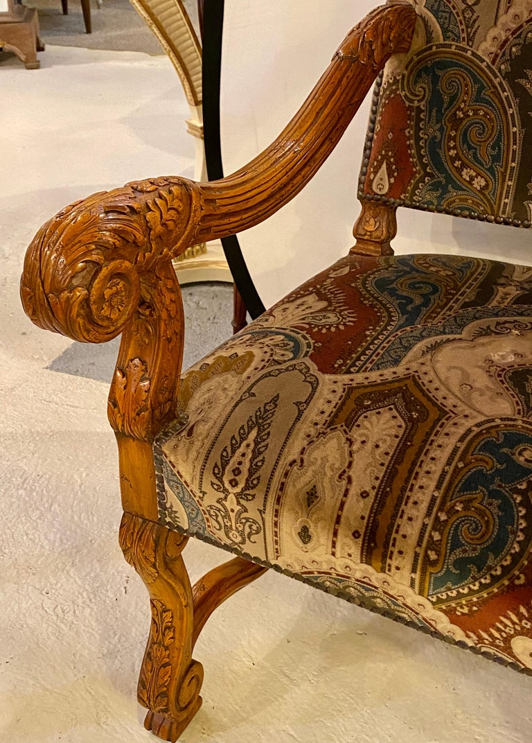 Pair of Throne Armchairs with a Versace Style Cut and Printed Velvet Fabric For Sale 12