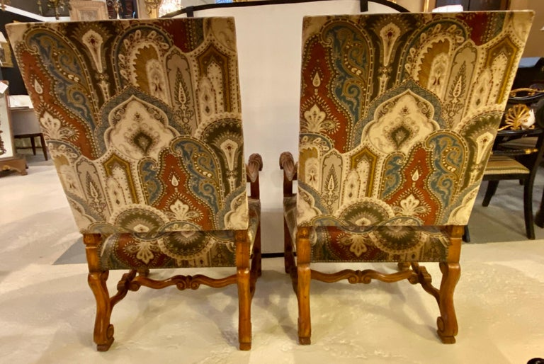Rococo Pair of Throne Armchairs with a Versace Style Cut and Printed Velvet Fabric For Sale