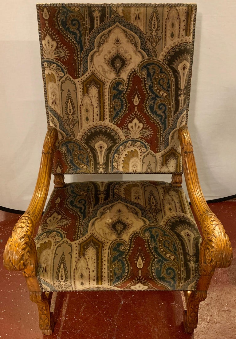Pair of Throne Armchairs with a Versace Style Cut and Printed Velvet Fabric In Good Condition For Sale In Stamford, CT