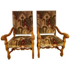 Pair of Throne Armchairs with a Versace Style Cut and Printed Velvet Fabric