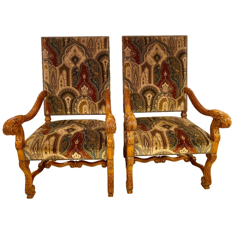Pair of Throne Armchairs with a Versace Style Cut and Printed Velvet Fabric For Sale