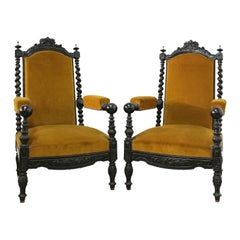 Pair of Throne Chairs Open Armchairs French 19th Century Louis XIII Barley Twist