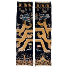 Pair of Tibetan Dragon Column Carpets, circa 1900