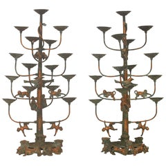 Pair of Tibetan Gilt Bronze Monkey Temple Candelabra