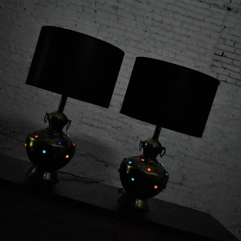 Pair of Tibetan Hand Hammered Brass Lamps with Glass Jewels For Sale 6