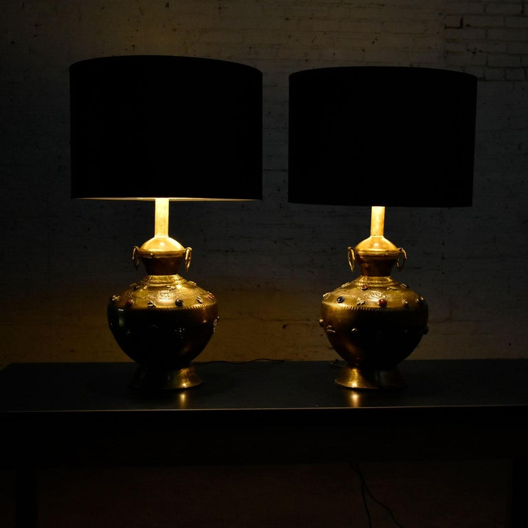 Pair of Tibetan Hand Hammered Brass Lamps with Glass Jewels For Sale 7