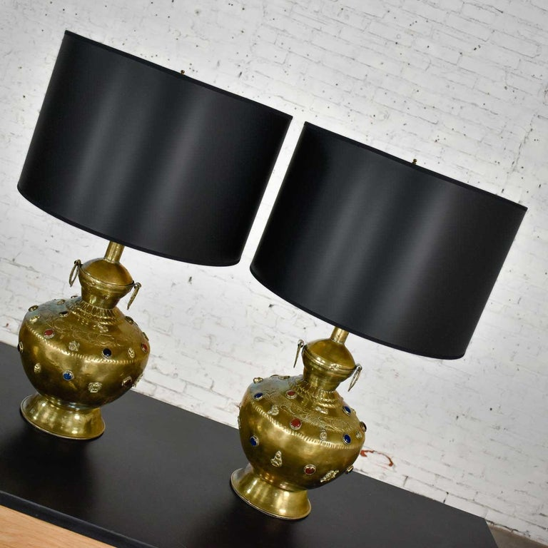 Pair of Tibetan Hand Hammered Brass Lamps with Glass Jewels For Sale 8