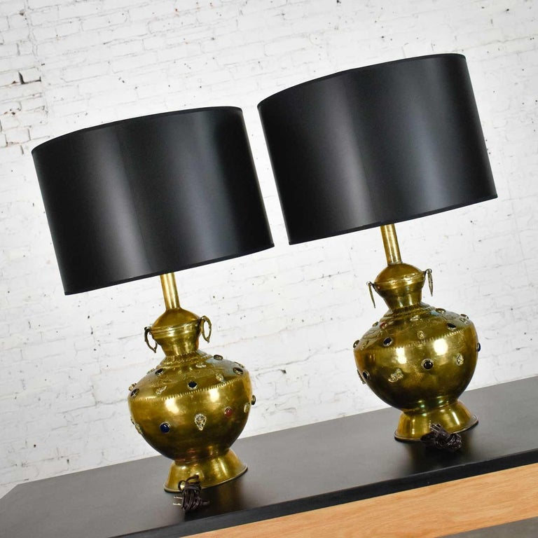 Pair of Tibetan Hand Hammered Brass Lamps with Glass Jewels For Sale 9