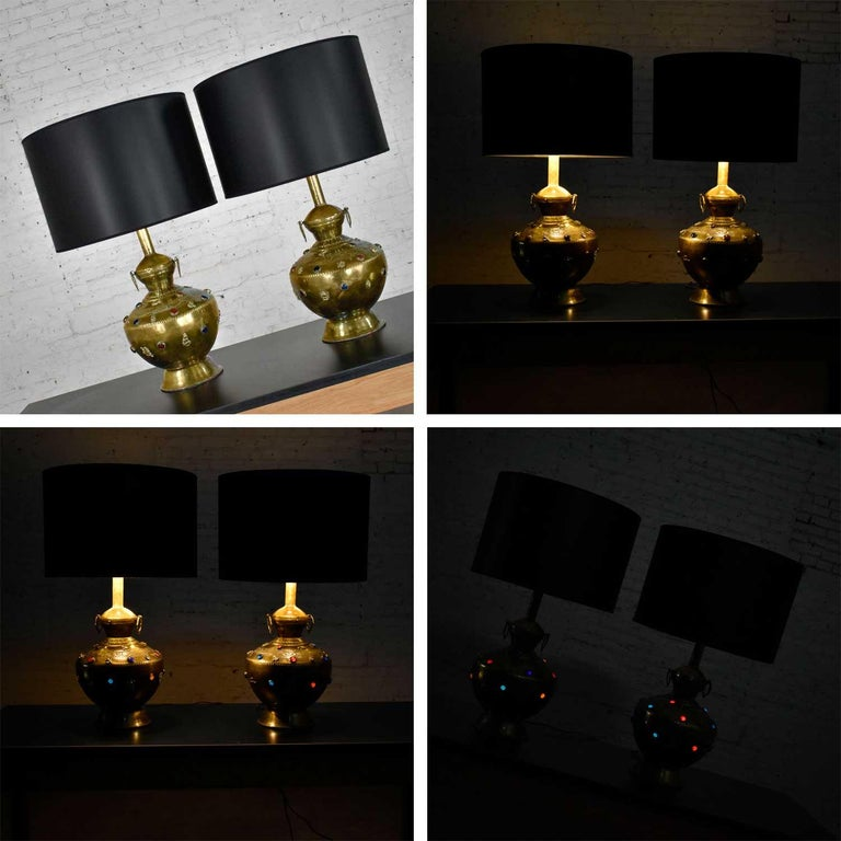 Pair of Tibetan Hand Hammered Brass Lamps with Glass Jewels For Sale 10