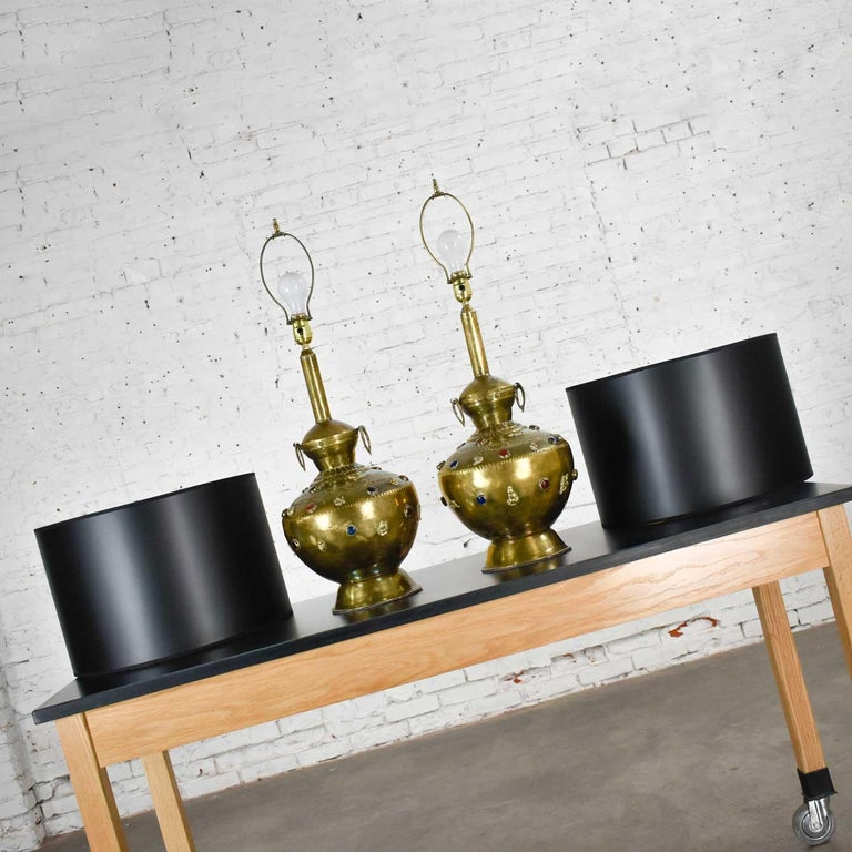 20th Century Pair of Tibetan Hand Hammered Brass Lamps with Glass Jewels For Sale