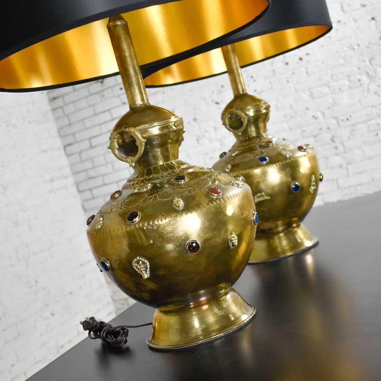 Pair of Tibetan Hand Hammered Brass Lamps with Glass Jewels For Sale 2