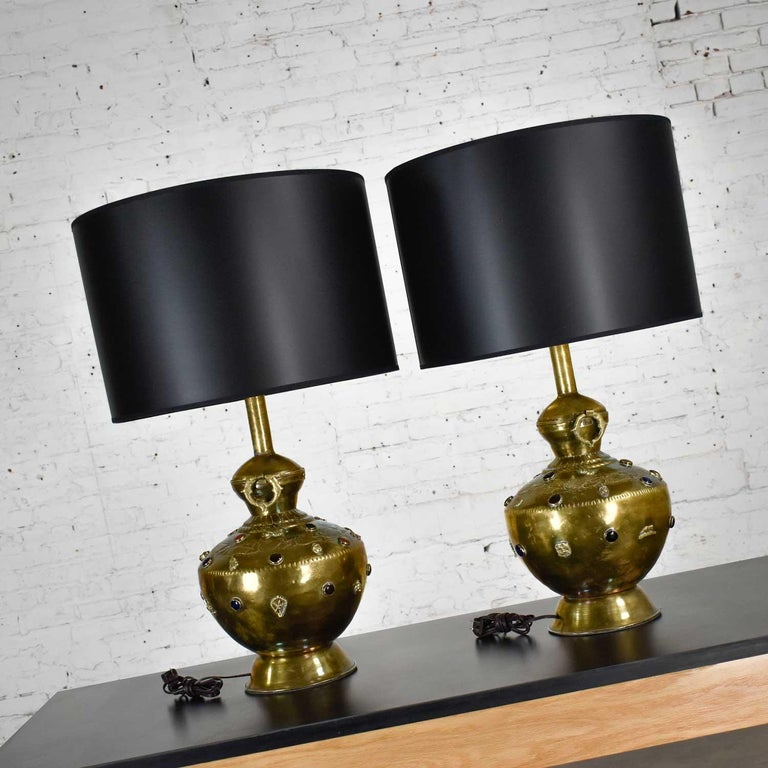 Pair of Tibetan Hand Hammered Brass Lamps with Glass Jewels For Sale 3