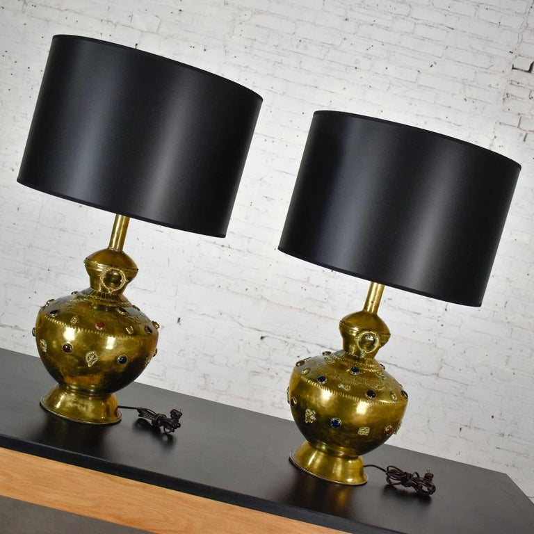 Pair of Tibetan Hand Hammered Brass Lamps with Glass Jewels For Sale 4