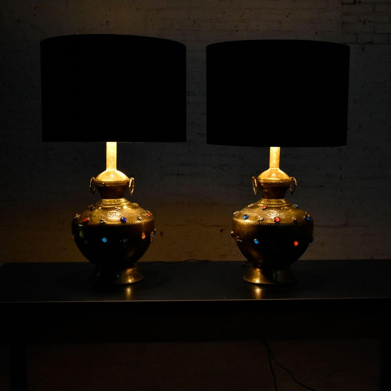 Pair of Tibetan Hand Hammered Brass Lamps with Glass Jewels For Sale 5