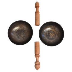 Pair of Tibetan Singing Bowls with Flaring Sides