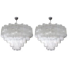 Pair of Tiered Clear Murano Glass Mazzega Chandeliers, 1970s