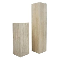 Pair of Tiered Square Italian Travertine Display Pedestals
