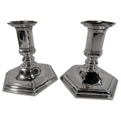 Pair of Tiffany & Co. American Art Deco Sterling Silver Candlesticks