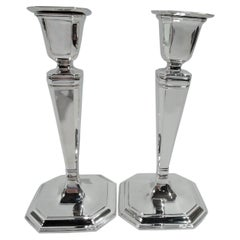 Pair of Tiffany Art Deco Sterling Silver Classical Pillar Candlesticks