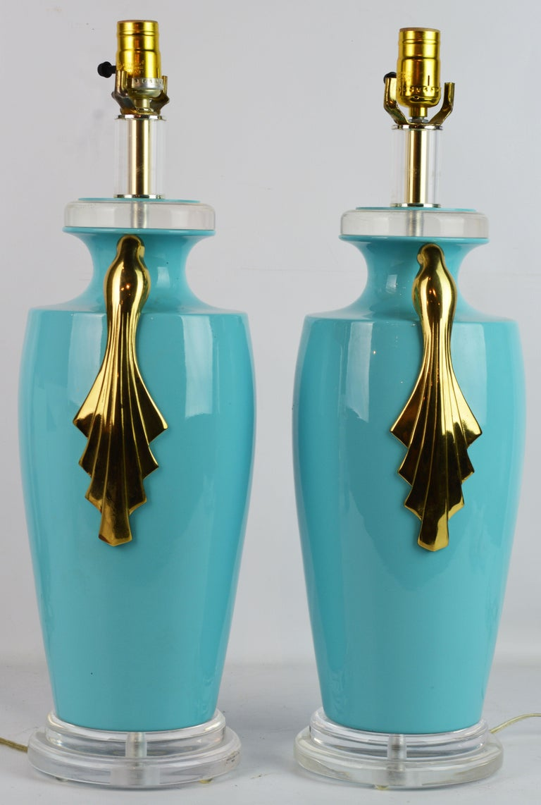 Art Deco Pair of Tiffany Blue Ceramic Table Lamps with Paradise Birds by Bauer Lamp Co. For Sale