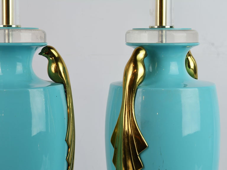 Glazed Pair of Tiffany Blue Ceramic Table Lamps with Paradise Birds by Bauer Lamp Co. For Sale