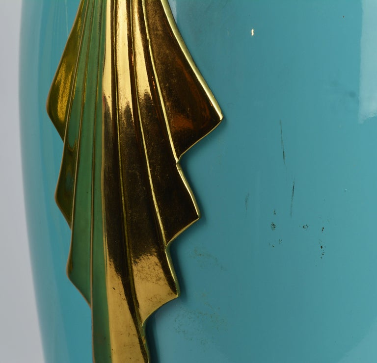 Brass Pair of Tiffany Blue Ceramic Table Lamps with Paradise Birds by Bauer Lamp Co. For Sale