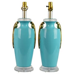 Pair of Tiffany Blue Ceramic Table Lamps with Paradise Birds by Bauer Lamp Co.