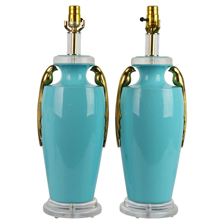 Pair of Tiffany Blue Ceramic Table Lamps with Paradise Birds by Bauer Lamp Co. For Sale