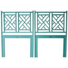 Pair of Tiffany Blue Chippendale Style Rattan Twin Headboards by David Francis