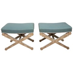 Pair of Tiffany Blue X-Form Benches