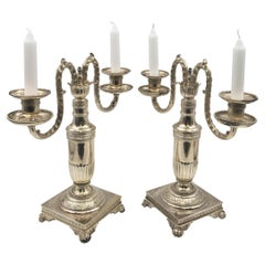 Pair of Tiffany & Co. 1877 Silver 2-Light Candelabras