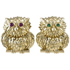 Pair of Tiffany & Co. Gold Owl Pins