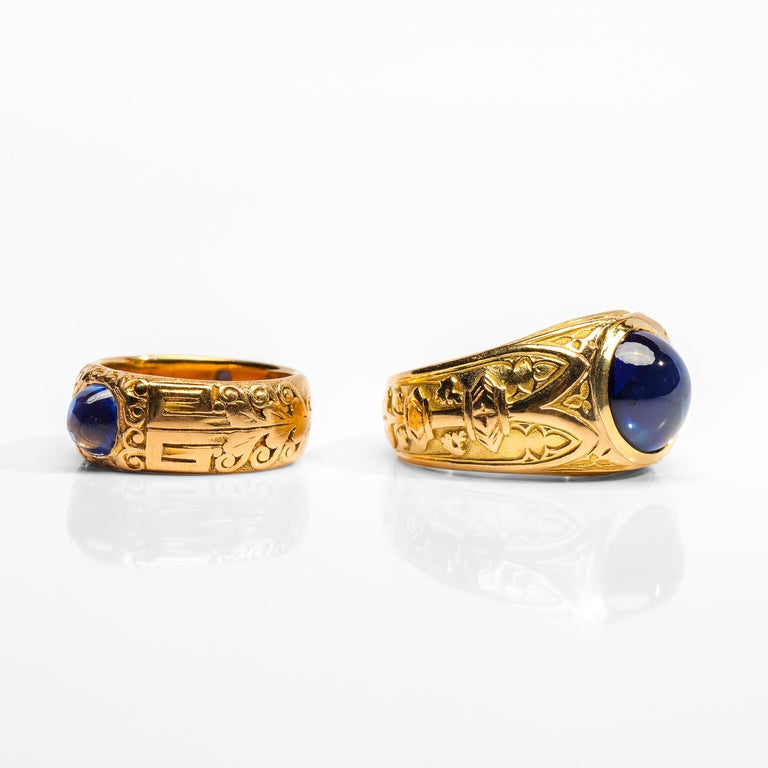 This listing offers a special price to the buyer interested in purchasing these two highly important Gilded-age rings by Tiffany & Co. Both feature absolutely breathtaking sapphires; the smaller ring features a certified unheated sapphire from
