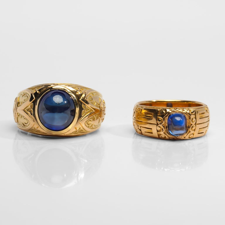 Cabochon Pair of Tiffany & Co. Sapphire Rings from Gilded Age Certified No-Heat Kashmir For Sale